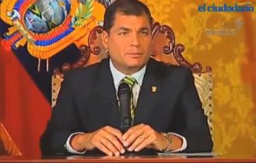 Präsident Rafael Correa bei seiner Ansprache am Donnerstag
