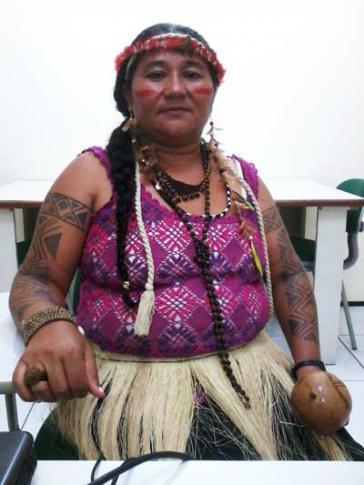 Eine Anführerin der Trembé-Indigengen, die sich gegen den Bau des Luxusressorts wehren