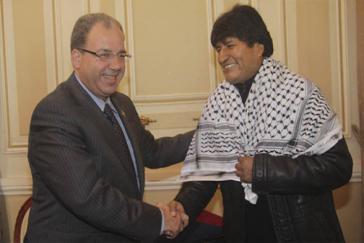 Präsident Morales empfängt Palästinenser-Vertreter Jihad Khalil Al Wazir im April 2013 in La Paz