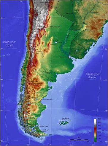 Argentinien, unten die Islas Malvinas (Falkland-Inseln)