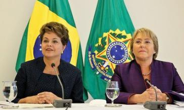 Die Präsidentinnen Brasiliens und Chiles, Dilma Rousseff und Michelle Bachelet vergangene Woche in São Paulo