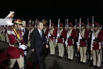 UNO-Generalsekretär Ban Ki-moon bei seiner Ankunft in Santa Cruz, Bolivien
