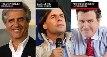 Von links nach rechts: Tabaré Vázquez, Luis Alberto Lacalle Pou, Pedro Bordaberry