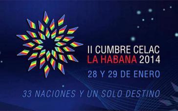 """Logo des 2. Celac-Gipfeltreffens in Havanna:  """"33 Nationen und eine einzige Bestimmung"""""""