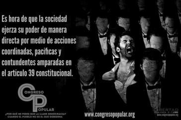 """Ein Plakat zum Volkskongress: """"Es ist an der Zeit, dass die Gesellschaft ihre durch den Verfassungsartikel 39 garantierte direkte Macht mit durchgreifenden, friedlichen und koordinierten Aktionen ausübt."""""""