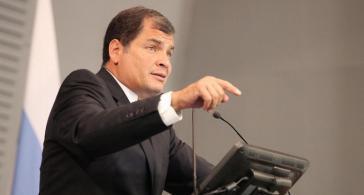 Ecuadors Präsident Correa während eines Auftritts an der nationalen Universität von Costa Rica