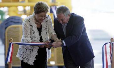 Dilma Rousseff und Raúl Castro bei der Einweihung am Montag