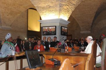 Der Papst bei seiner Ansprache