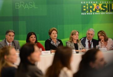 Präsidentin Rousseff bei einem Treffen mit Unternehmern in ihrem Amtssitz Palácio do Planalto in Brasília