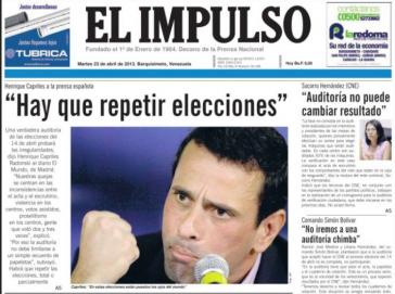 """Titelblatt von """"El Impulso"""""""