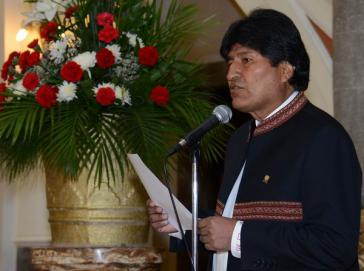 Evo Morales bei der Eröffnung des frauenpolitischen Treffens, das vor dem G-77-Gipfel stattfindet
