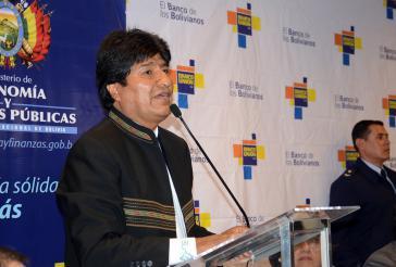 Evo Morales bei der Pressekonferenz in Cochabamba