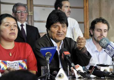Boliviens Präsident Evo Morales bei einer Pressekonferenz in Santiago de Chile am 11. März