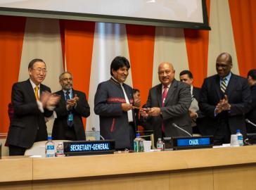 Evo Morales bei der Übergabe der G-77-Präsidentschaft am Mittwoch in New York
