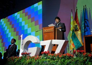 Boliviens Präsident Evo Morales bei seiner Rede in Santa Cruz