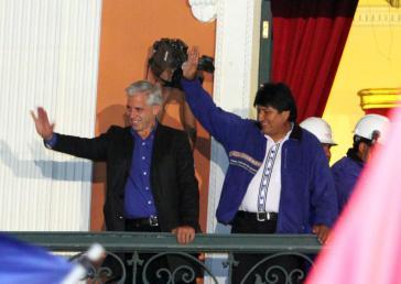 Boliviens Präsident Evo Morales und sein Vize Álvaro García Linera am Sonntagabend in La Paz