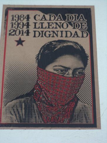 "Plakat der EZLN: ""1984-1994-2014 – Jeder Tag voller Würde"""