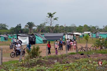 Camp der Landbesetzer auf dem Grundstück in Fortul, das für den Bau einer Militärkaserne gedacht war