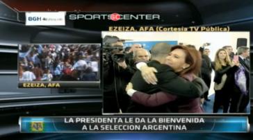 Nicht irritiert: Argentinische Nationalspieler bei Präsidentin Christina Fernández