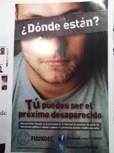 """""""Wo sind sie?"""" Ein Plakat der NGO FUUNDEC fordert Aufklärung der Fälle von Verschwundenen"""