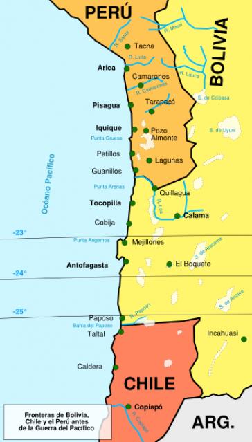 Landkarte der Küste Boliviens im zweiten und dritten Viertel des 19. Jahrhundert
