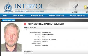 Interpol-Fahndungsblatt von Hartmut Hopp