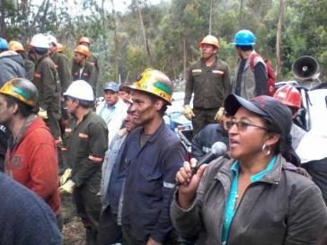 Mitglieder der Bergarbeitervereinigung Marmato beim landesweiten Streik im Kohlebergbau im Juli 2013