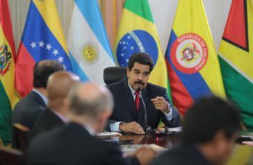 Präsident Maduro beim Treffen der UNASUR-Außenminister in Caracas