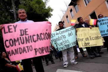 Demonstration für das neue ecuadorianische Mediengesetz...