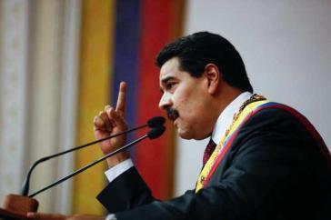Präsident Nicolás Maduro bei seiner Ansprache vor dem Parlament im Januar