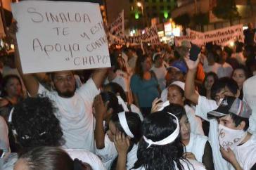"""Demonstration nach der Verhaftung Guzmans im Januar 2014 in Guamúchil: """"Sinaloa unterstützt dich und ist mit dir, Chapo"""""""
