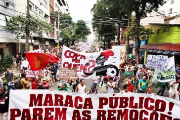 """""""Maraca in öffentliche Hand! Stoppt die Räumungen!"""" Proteste gegen die Privatisierung des Maracanã-Stadions und die Zwangsräumungen"""