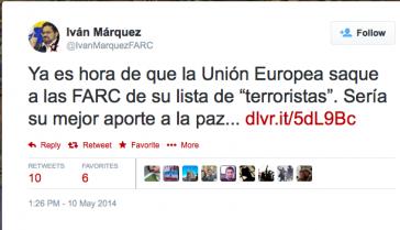 Twitter-Eintrag von Iván Márquez