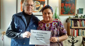 Die Friendensnobelpreisträger Adolfo Pérez Esquivel aus Argentinien und Rigoberta Menchú aus Guatemala fordern das sofortige Ende der israelischen Bombardements