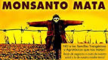 Protestplakat gegen den Gentechnikkonzern Monsanto