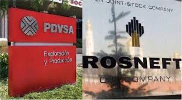 Logos von PDVSA und Rosneft