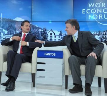 Die Präsidenten von Mexiko und Kolumbien, Enrique Peña Nieto und Juan Manuel Santos, beim Weltwirtschaftsforum in Davos