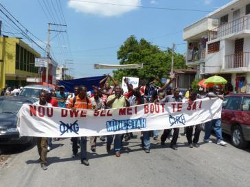 Proteste gegen UN-Mission in Haiti. Im Oktober soll das Mandat verlängert werden