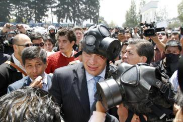 Ecuadors Präsident Rafael Correa während des versuchten Staatsstreichs vom 30. September 2010