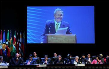 Kubas Präsident Raúl Castro bei der Eröffnungsansprache des 2. Celac-Gipfeltreffens
