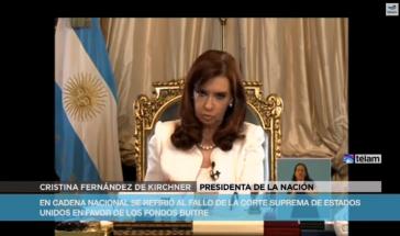 Präsidentin Cristina Fernández bei ihrer Ansprache