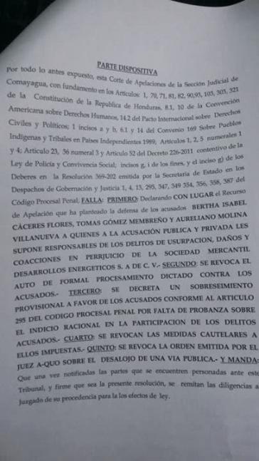 Ein neues Urteil führte zur vorübergehenden Aufhebung der Untersuchungshaft gegen Bertha Cáceres, der Generalkoordinatorin von COPINH