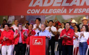 El Salvadors neuer Präsident Salvador Sánchez Cerén, hier bei einer Ansprache im Wahlkampf