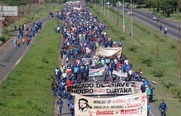 Demonstration von Sidor-Arbeitern Ende Juli 2014