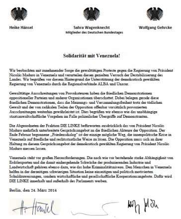 In einer Erklärung vom 24. März beziehen Bundestagsabgeordnete Stellung zu den Ereignissen in Venezuela
