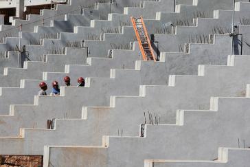 Bauarbeiten im Stadion Fonte Nova in Salvador da Bahía