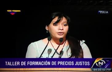 Die Leiterin der Aufsichtsbehörde zum Schutz der sozioökonomischen Rechte (SUNDDE), Andreina Tarazón