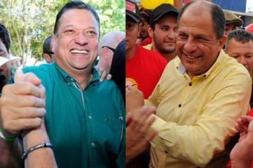 Luis Guillermo Solís von der PAC und Johnny Arara von der PLN (v.r.n.l.) werden den zweiten Wahlgang am 6. April 2014 bestreiten