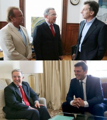 Álvaro Uribe mit dem Abgeordneten Miguel del Sel (links)  und dem Bürgermeister von Buenos Aires, Mauricio Macri (oben) sowie mit dem Abgeordneten Sergio Massa (unten)