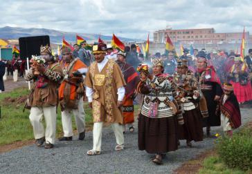 Indigene Zeremonie zur Einführung von Evo Morales in das Präsidentenamt im Januar 2015
